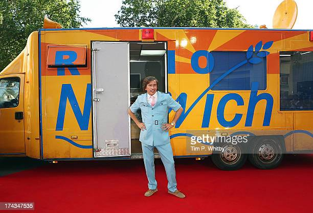 Steve Coogan in character as Alan Partridge attends the 'Alan Partridge Alpha Papa' World Premiere Day at Vue Leicester Square on July 24 2013 in...