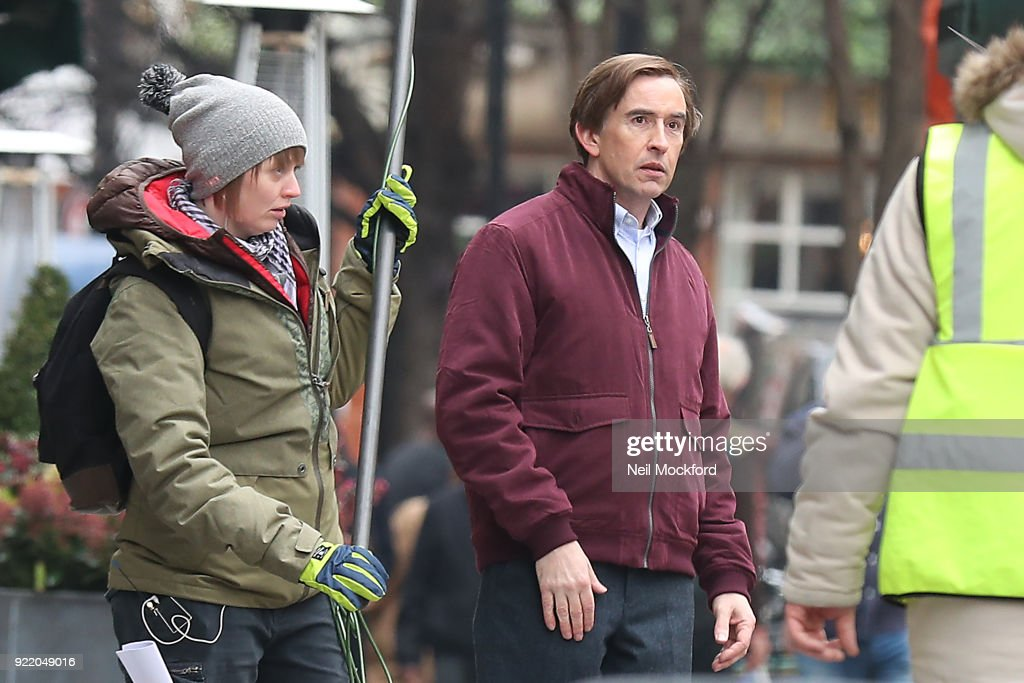 Steve Coogan seen filming scenes for a new season of Alan Partridge in Soho on February 21, 2018 in London, England.