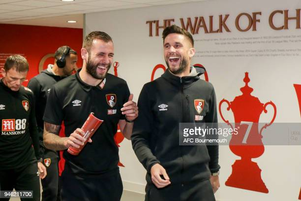 Steve Cook and Andrew Surman of Bournemouth before the Premier League match between Liverpool and AFC Bournemouth at Anfield on April 14 2018 in...