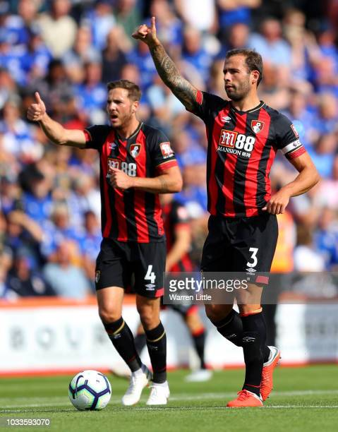 Steve Cook and Dan Gosling of AFC Bournemouth celebrate after the first goal during the Premier League match between AFC Bournemouth and Leicester...