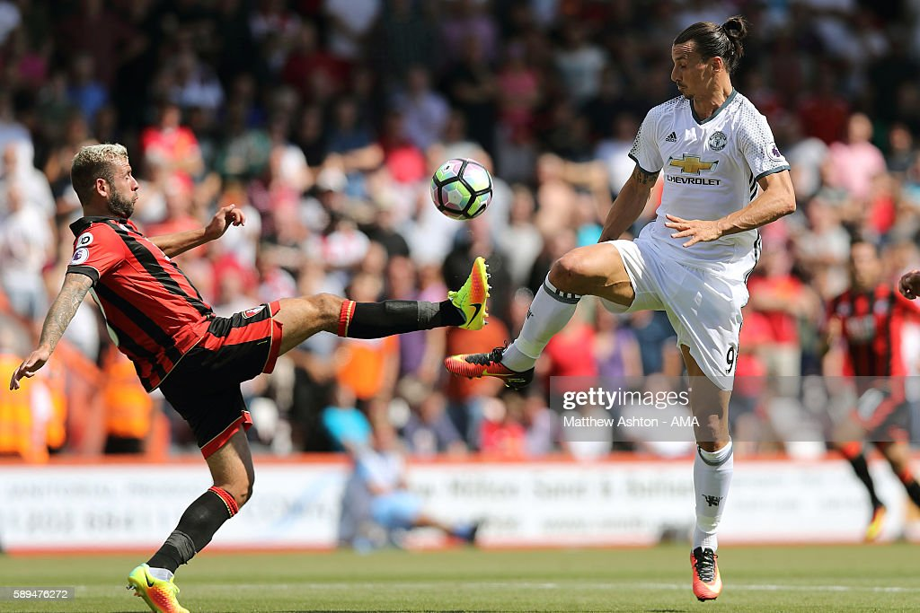Steve Cook of AFC Bournemouth and Zlatan Ibrahimovic of Manchester United in action during the Premier League match between Manchester City and Sunderland at Etihad Stadium on August 13, 2016 in Manchester, England.