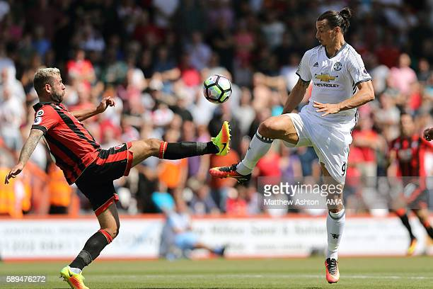 Steve Cook of AFC Bournemouth and Zlatan Ibrahimovic of Manchester United in action during the Premier League match between Manchester City and...