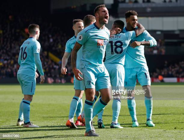 Steve Cook of AFC Bournemouth celebrates a goal during the Premier League match between Watford and AFC Bournemouth at Vicarage Road on March 31 2018...