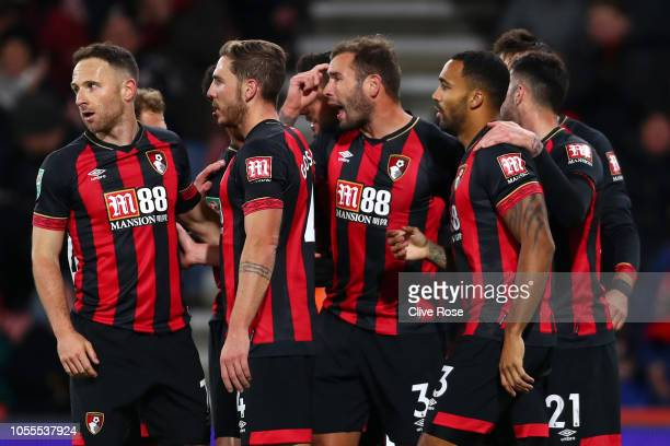 Steve Cook of AFC Bournemouth celebrates after scoring his team's second goal with team mates during the Carabao Cup Fourth Round match between AFC...