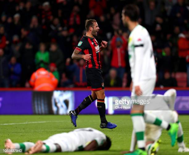 Steve Cook of AFC Bournemouth celebrates after scoring his team's second goal during the Carabao Cup Fourth Round match between AFC Bournemouth and...