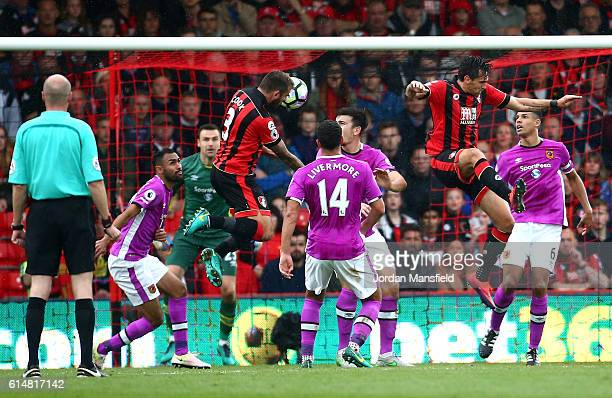 Steve Cook of AFC Bournemouth celebrates scoring his sides second goal during the Premier League match between AFC Bournemouth and Hull City at...