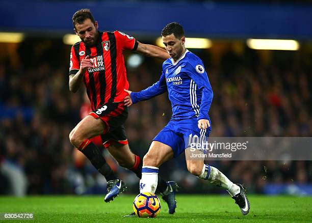 Steve Cook of AFC Bournemouth closes down Eden Hazard of Chelsea during the Premier League match between Chelsea and AFC Bournemouth at Stamford...