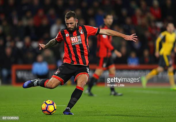 Steve Cook of AFC Bournemouth in action during the Premier League match between AFC Bournemouth and Arsenal at Vitality Stadium on January 3 2017 in...