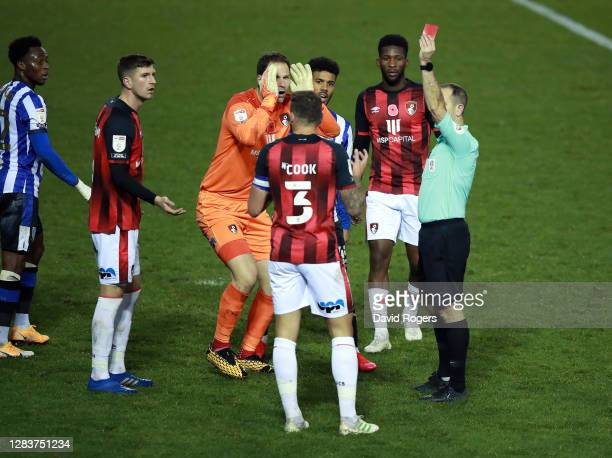 Steve Cook of AFC Bournemouth is shown a red card during the Sky Bet Championship match between Sheffield Wednesday and AFC Bournemouth at...