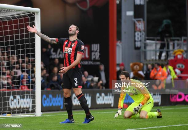 Steve Cook of AFC Bournemouth reacts to scoring a own goal for Liverpool's third goal of the game during the Premier League match between AFC...