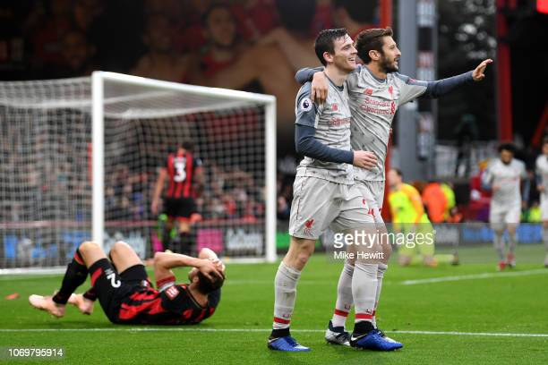 Steve Cook of AFC Bournemouth reacts to scoring a own goal for Liverpool's third goal of the game as Andy Robertson of Liverpool abd Adam Lallana of...