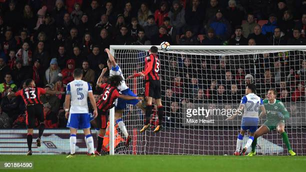 Steve Cook of AFC Bournemouth scores his sides second goal during The Emirates FA Cup Third Round match between AFC Bournemouth and Wigan Athletic at...