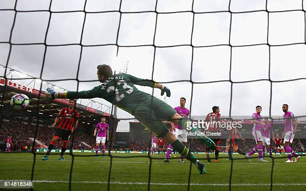 Steve Cook of AFC Bournemouth scores his sides second goal past David Marshall of Hull City during the Premier League match between AFC Bournemouth...