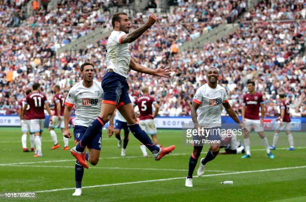 Steve Cook of AFC Bournemouth scores his team's second goal during the Premier League match between West Ham United and AFC Bournemouth at London...