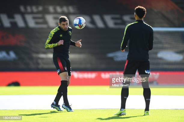 Steve Cook of AFC Bournemouth warms up prior to the Sky Bet Championship match between AFC Bournemouth and Watford at Vitality Stadium on February...