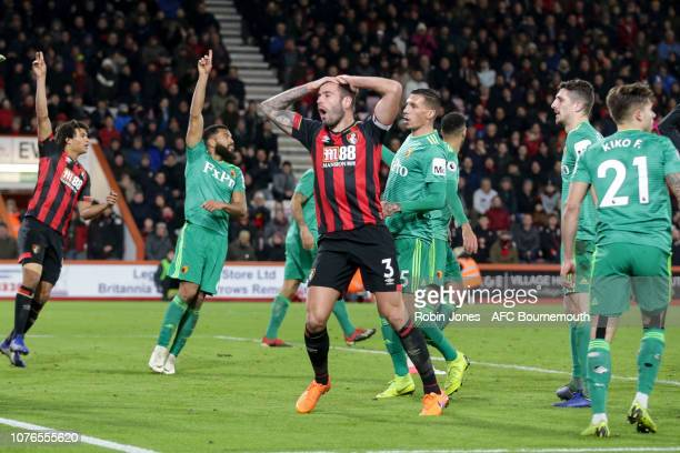 Steve Cook of Bournemouth after Ben Foster of Watford pushes his header away for a corner during the Premier League match between AFC Bournemouth and...