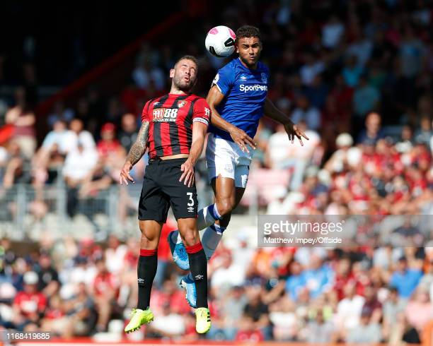 Steve Cook of Bournemouth and Dominic CalvertLewin of Everton compete for the ball during the Premier League match between AFC Bournemouth and...