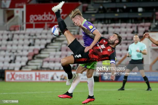 Steve Cook of Bournemouth and Tomas Kalas of Bristol City fight for the ball during the Sky Bet Championship match between AFC Bournemouth and...