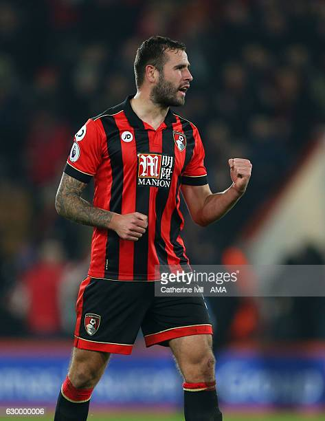Steve Cook of Bournemouth celebrates during the Premier League match between AFC Bournemouth and Leicester City at Vitality Stadium on December 13...