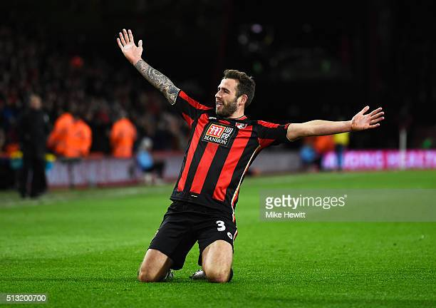 Steve Cook of Bournemouth celebrates scoring his team's first goal during the Barclays Premier League match between AFC Bournemouth and Southampton...