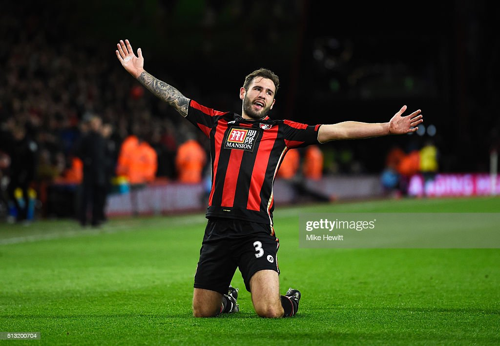 Steve Cook of Bournemouth celebrates scoring his team's first goal during the Barclays Premier League match between A.F.C. Bournemouth and Southampton at Vitality Stadium on March 1, 2016 in Bournemouth, England.
