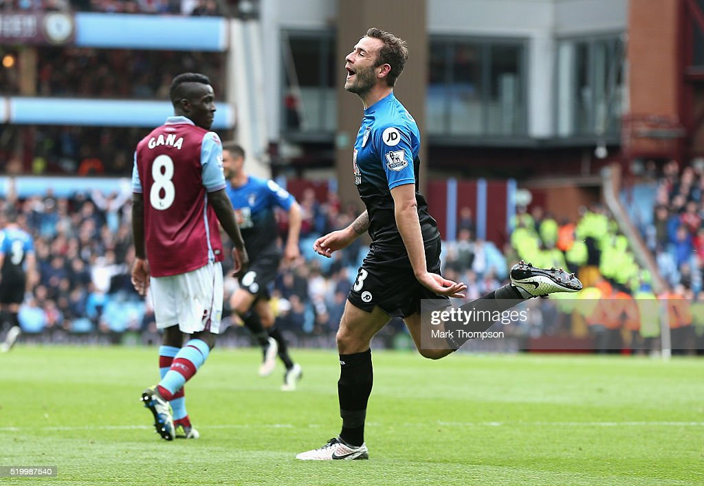 Steve Cook of Bournemouth celebrates scoring his team's first goal during the Barclays Premier League match between Aston Villa and A.F.C. Bournemouth at Villa Park on April 9, 2016 in Birmingham, England.