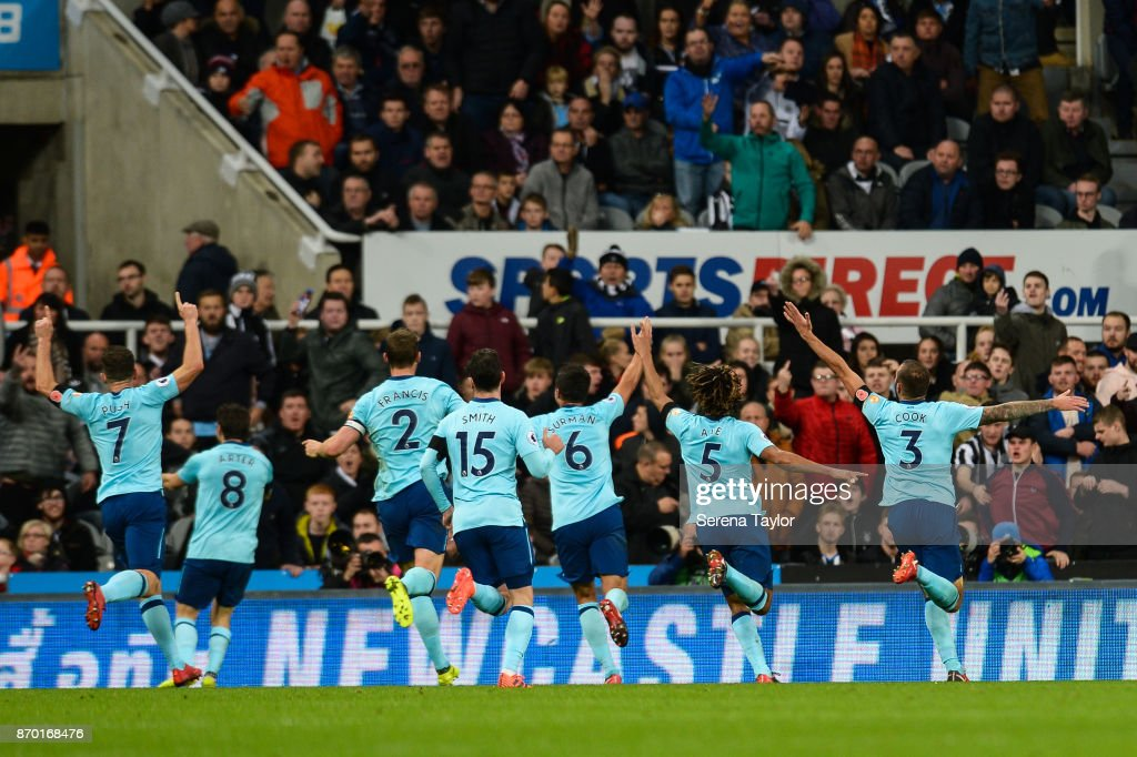 Steve Cook of Bournemouth (3) celebrates with teammates after he scores the only goal during the Premier League match between Newcastle United and AFC Bournemouth at St.James' Park on November 4, 2017, in Newcastle upon Tyne, England.