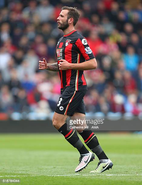 Steve Cook of Bournemouth during the Barclays Premier League match between AFC Bournemouth and Manchester City at Vitality Stadium on April 2 2016 in...