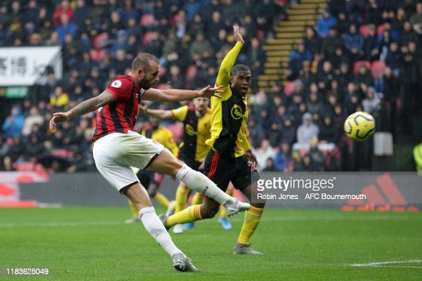 Steve Cook of Bournemouth during the Premier League match between Watford FC and AFC Bournemouth at Vicarage Road on October 26 2019 in Watford...