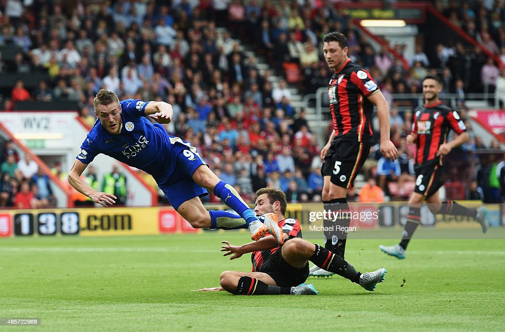 Steve Cook of Bournemouth fouls Jamie Vardy of Leicester City resulting in a penalty during the Barclays Premier League match between A.F.C. Bournemouth and Leicester City at Vitality Stadium on August 29, 2015 in Bournemouth, England.