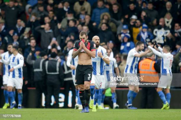 Steve Cook of Bournemouth looks dejected after Florin Andone of Brighton Hove Albion scores a goal to make it 31 during the FA Cup Third Round match...