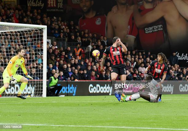 Steve Cook of Bournemouth scores an own goal during the Premier League match between AFC Bournemouth and Liverpool FC at Vitality Stadium on December...
