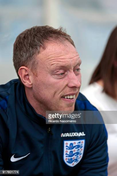 Steve Cooper Head Coach of England U17 at the beginning of the match during U17Juniors Algarve Cup match between U17 Germany and U17 England at...