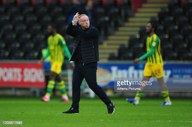 Steve Cooper Head Coach of Swansea City applauds the fans at the final whistle during the Sky Bet Championship match between Swansea City and West...