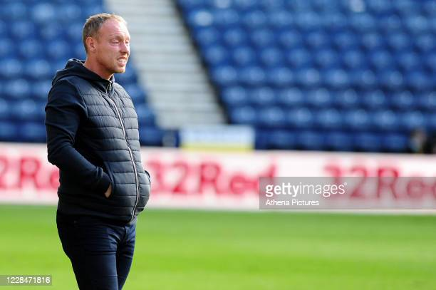 Steve Cooper Head Coach of Swansea City during the Sky Bet Championship match between Preston North End and Swansea City at Deepdale on September 12...