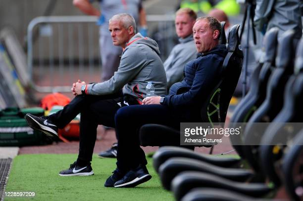 Steve Cooper Head Coach of Swansea City during the Sky Bet Championship match between Swansea City and Birmingham City at the Liberty Stadium on...