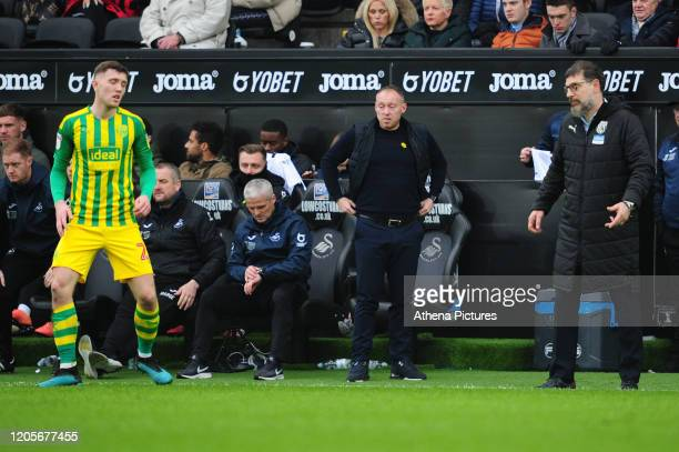 Steve Cooper Head Coach of Swansea City in action during the Sky Bet Championship match between Swansea City and West Bromwich Albion at the Liberty...