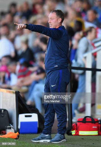 Steve Cooper Manager of England gestures during the UEFA European Under17 Championship Between Norway and England at Pirelli Stadium on May 13 2018...
