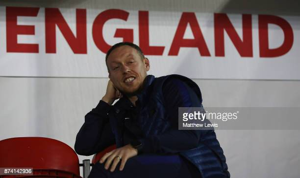 Steve Cooper manager of England looks on ahead of the International Match between England U17 and Germany U17 at The New York Stadium on November 14...