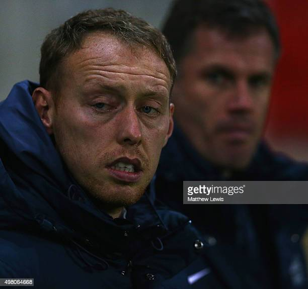 Steve Cooper manager of England looks on during the International U17 Friendly match between England U17 and Germany U17 at the New York Stadium on...