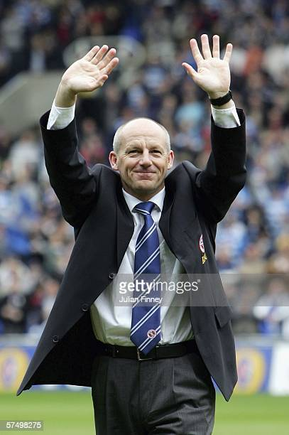 Steve Coppell manager of Reading waves to the crowd after winning the Championship League with a record points scored after the CocaCola Championship...