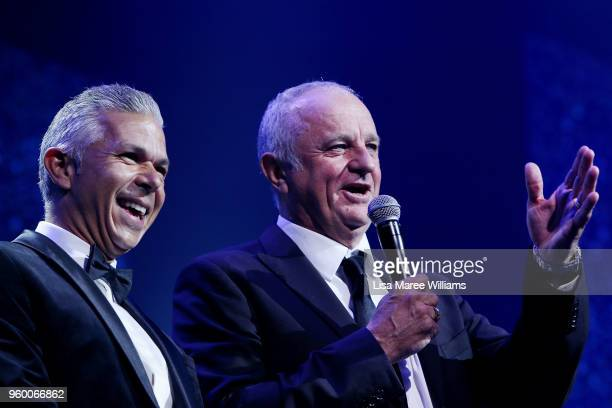 Steve Corica and Graham Arnold speak during the Sydney FC Sky Blue Ball on May 19 2018 at The Star in Sydney Australia