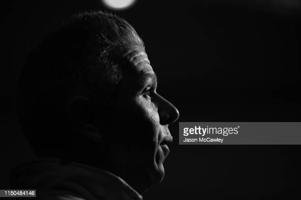 Steve Corica head coach of Sydney speaks to the media during the Sydney FC A-League Grand Final celebrations at The Star on May 20, 2019 in Sydney,...