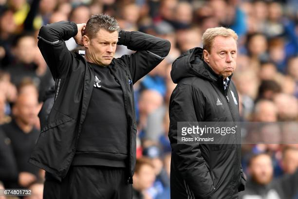 Steve Cotterill and Harry Redknapp the manager of Birmingham City during the Sky Bet Championship match between Birmingham City and Huddersfield Town...