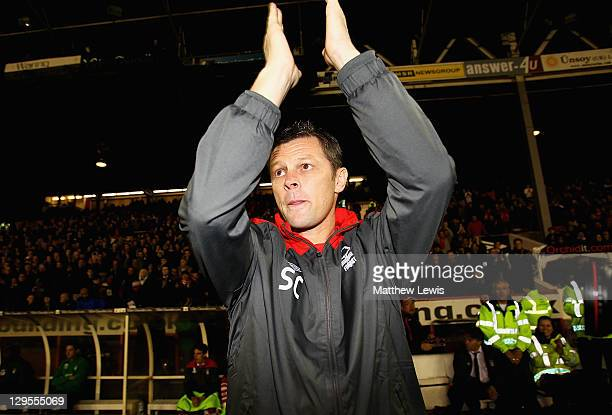 Steve Cotterill, manager of Nottingham Forest applauds the fans ahead of the npower Championship match between Nottingham Forest and Middlesbrough at...