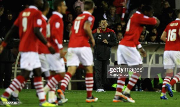 Steve Cotterill, manager of Nottingham Forest gives out instructions during the npower Championship match between Nottingham Forest and Middlesbrough...