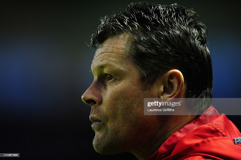 Steve Cotterill of Nottingham Forest looks on during the npower championship match between Leicester City and Nottingham Forest at The King Power Stadium on March 27, 2012 in Leicester, England.