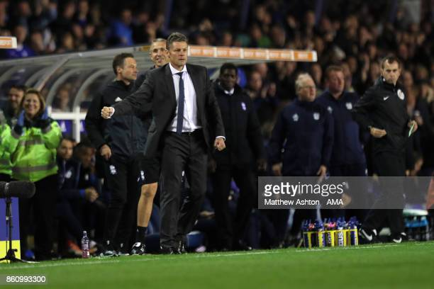 Steve Cotterill the head coach / manager of Birmingham City celebrates after his team scored a goal to make it 10 during the Sky Bet Championship...