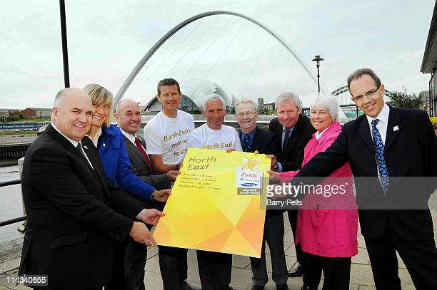 Steve Cram Brendan Foster George Felton Jim Alder Debbie Jevans Stephen Savage Anne Todd Cllr Ged Bell and Cllr Linda Green pose on the Quayside to...