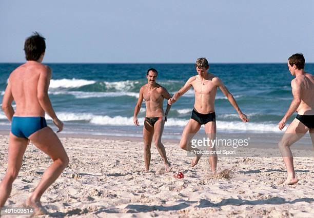 Steve Cram of England playing football on the beach near Brisbane on a rest day during the Commonwealth Games in Australia circa October 1982